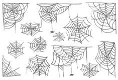 Collection of Cobweb isolated transparent background. Spiderweb for Halloween design. Spider web elements spooky and stock illustration