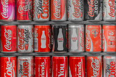 Collection of Coca cola cans royalty free stock image