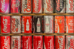 Collection of Coca cola cans Stock Photography