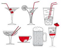 Collection of Cocktail Glasses, Cup of Coffee and Glass of Beer -  illustration. With original hand drawn structures and decorations Stock Photo