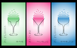 Collection of cocktail party poster, flyer, invitation or banner. Design template for cocktail bar business cards with glasses and equalize. Disco background Stock Image