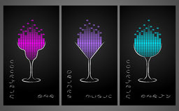 Collection of cocktail party poster, flyer, invitation or banner. Design template for cocktail bar business cards with glasses and equalize. Disco background Stock Images