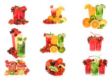 Collection cocktails with fruits and berries stock image