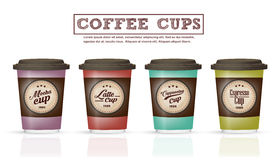 Collection of coffee badges and logo design on coffee cup Vector Royalty Free Stock Photography