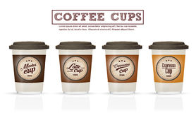 Collection of coffee badges and logo design on coffee cup Vector Stock Photography