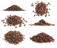 Collection of coffee beans heap. On white Stock Photos