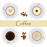 Collection of coffee cups. Top view. Vector. Set of stylish semi-realistic cups with coffee and coffee beans. Cappuccino, espresso, flat white. Great design Stock Image