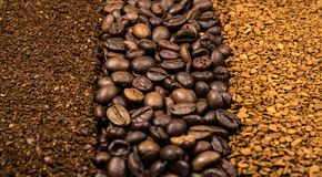 Collection of coffee, milled, instant and beans Royalty Free Stock Images