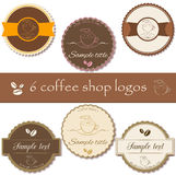 Collection of coffee shop labels, logos. Set of premium coffee shop logos, badges, logos in retro style. Business identity templates, mock ups. Vector Royalty Free Stock Photo