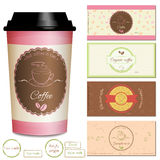 Collection of coffee shop logo and label designs. Set of premium coffee shop logo and label designs, coffee cup labels. Coffee stickers and seals. Realistic take Stock Images