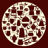 Collection Coffee silhouette  Pots with Cups Stock Photo