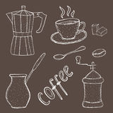 Collection of coffee sketch tool, hand drawing, vintage style. vector illustration; Stock Image