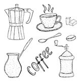 Collection of coffee sketch tool, hand drawing, vintage style. vector illustration; Royalty Free Stock Photos