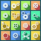 Collection of cogs and gears icons set Stock Photography
