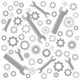 Collection of cogs and wrenches, gears pattern stock illustration