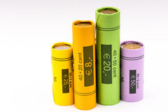 Collection of coin rolls (euro) Royalty Free Stock Photos