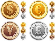 Collection coins - dollar, euro, british pounds, j Royalty Free Stock Photos