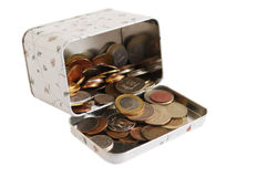 Collection of coins on a white background. Collection of coins of the different countries in a trunk on a white background the isolated Stock Image