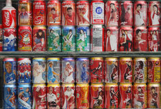 Collection of coke pop cans Royalty Free Stock Photo
