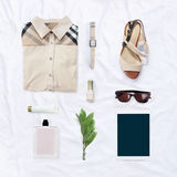 Collection collage of women's clothing Stock Images