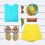 Collection collage of women's clothing Stock Photo