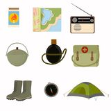 Collection of collected sets for camping tent boots, compass matches, first-aid kit. vector illustration