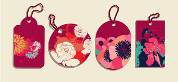 Collection of coloful floral tags stock illustration