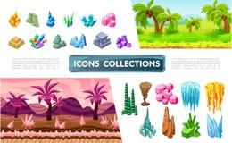 Collection colorée d'éléments de paysage de jeu illustration stock