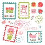 Collection colorée d'annonce de bébé illustration de vecteur