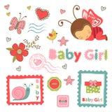 Collection colorée d'annonce de bébé illustration stock