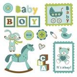 Collection colorée d'annonce de bébé garçon illustration stock