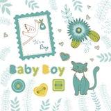 Collection colorée d'annonce de bébé garçon illustration de vecteur