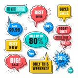 Collection colorée de bulles de la parole de ventes illustration de vecteur
