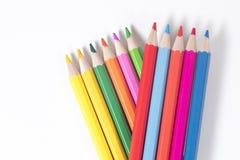 Collection colorée de crayons de crayon sur le blanc Photographie stock