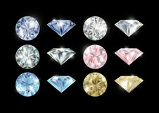Collection colorée de diamants Photo libre de droits