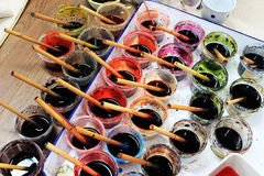 Collection of color. Kimono Preparation before dyeing materials Royalty Free Stock Image