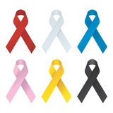 Collection of 6 color awareness ribbons. Stock Images