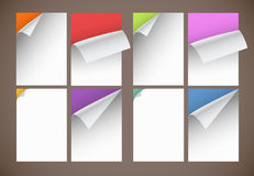 Collection of color blank paper sheets Royalty Free Stock Images
