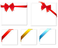 Collection of color bows with ribbons. Vector. Royalty Free Stock Photography