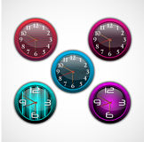 Collection of color bright wall clock Stock Photography