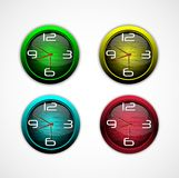 Collection of color bright wall clock Stock Images