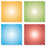 Collection of 4 color burst backgrounds. Vector. Royalty Free Stock Images