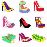 Collection of color  fashion woman shoes Stock Image