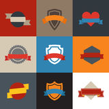 Collection of color flat labels Stock Photo