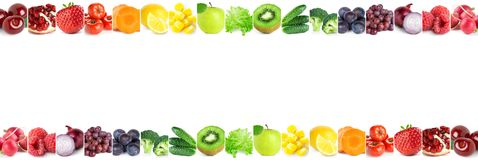 Collection of color fruits and vegetables Stock Images