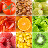 Collection with color fruits and vegetables Stock Photography