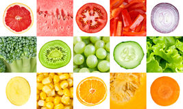 Collection with color fruits and vegetables Stock Image