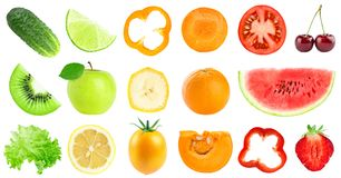 Collection of color fruits and vegetables isolated on white royalty free stock photography