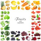 Collection of color fruits and vegetables on white background. Frame royalty free stock images
