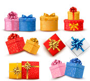 Collection of color gift boxes Stock Images